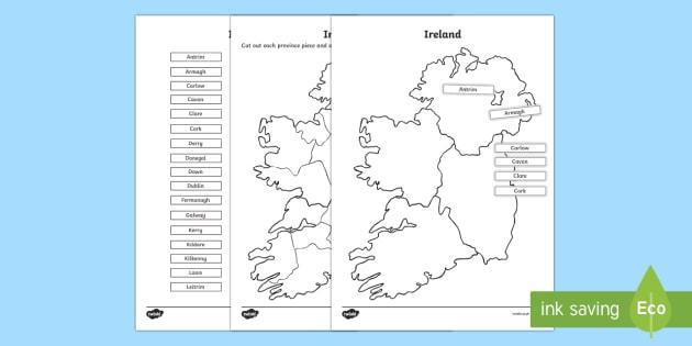 Build Ireland Counties Jigsaw Puzzle Activity Sheet