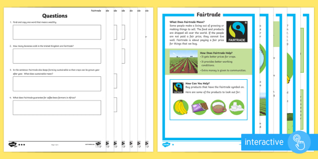 Fairtrade Differentiated Comprehension Go Respond Activity Sheets - Key Stage One, Key Stage 1, KS1, Year, Year 2, Reading, Computer, Tablet, Questions, Answers, Readin