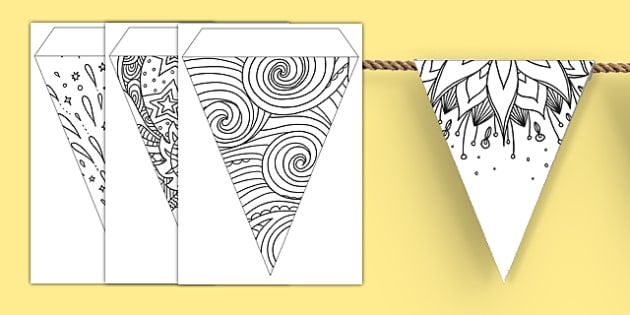 Mindfulness Colouring Bunting - mindfulness, colouring, bunting, display, colour