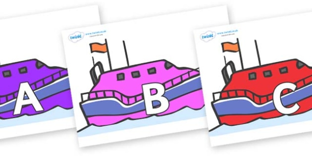 A-Z Alphabet on Lifeboats - A-Z, A4, display, Alphabet frieze, Display letters, Letter posters, A-Z letters, Alphabet flashcards
