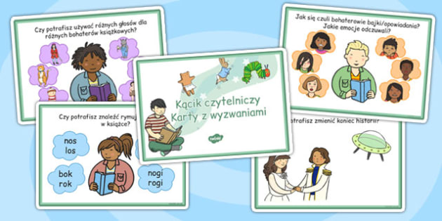 Karty z wyzwaniami Kącik czytelnika po polsku - przedszkole , Polish