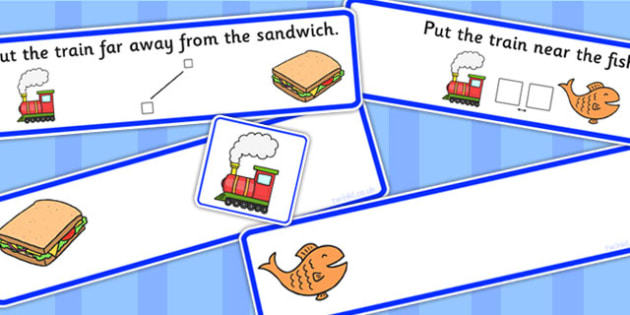 Put The Train Near Or Far Picture Strips - preposition, distance