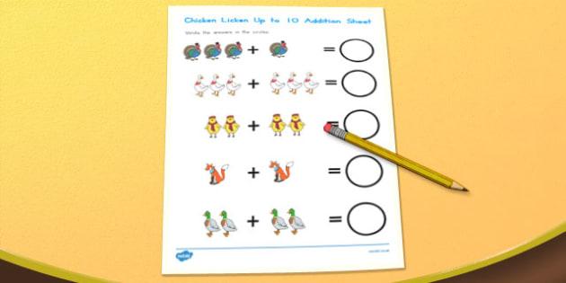 Chicken Licken Up to 10 Addition Sheet - australia, chicken licken