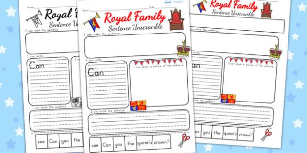 Royal Family Sentence Unscramble - royality, queen elizabeth