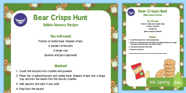 Bear Crisps Hunt Edible Sensory Recipe