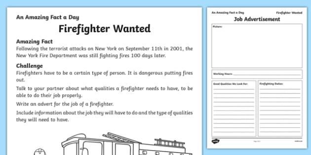 Firefighter Wanted Worksheet / Activity Sheet, worksheet