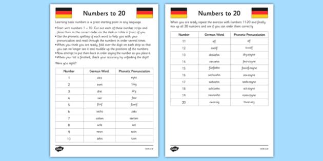 Numbers to 20 in German Worksheet / Activity Sheet - german