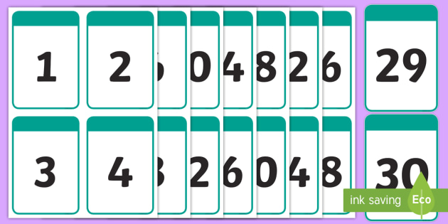 Printable 1-30 Number Cards