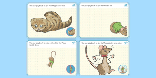 The Story of Miss Moppet Playdough Mats - miss moppet, playdough mats, playdough, mats, beatrix potter