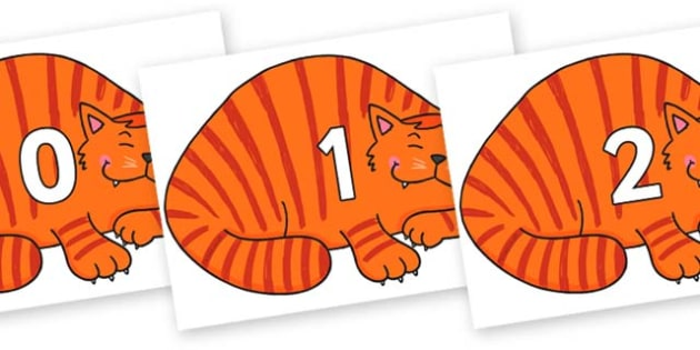 Numbers 0-50 on Hullabaloo Cat to Support Teaching on Farmyard Hullabaloo - 0-50, foundation stage numeracy, Number recognition, Number flashcards, counting, number frieze, Display numbers, number posters