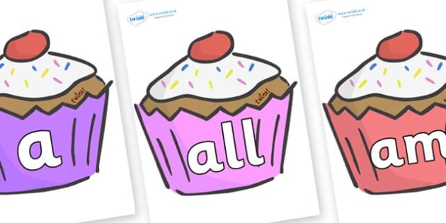 Foundation Stage 2 Keywords on Cupcakes - FS2, CLL, keywords, Communication language and literacy,  Display, Key words, high frequency words, foundation stage literacy, DfES Letters and Sounds, Letters and Sounds, spelling