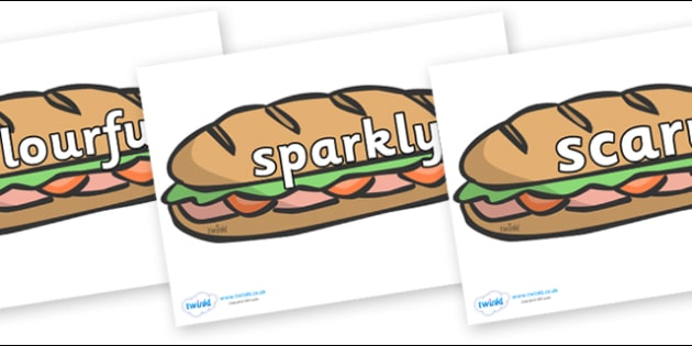 Wow Words on Sandwiches - Wow words, adjectives, VCOP, describing, Wow, display, poster, wow display, tasty, scary, ugly, beautiful, colourful sharp, bouncy