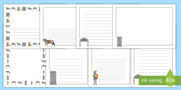 Castles & Knights Page Borders - Castles & Knights, Page border, border,  KS1, writing Borders, Castle, Knight, maiden, castle, tower, dragon, sword, horse, flag, shield, dungeon