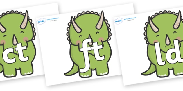 Final Letter Blends on Triceratops Dinosaurs - Final Letters, final letter, letter blend, letter blends, consonant, consonants, digraph, trigraph, literacy, alphabet, letters, foundation stage literacy