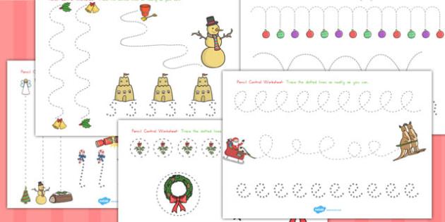 Christmas Pencil Control Worksheets - festivities, motor, skills