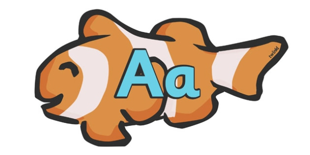 A-Z Alphabet on Clown Fish - Fish, Under the sea, Alphabet frieze, Display letters, Letter posters, A-Z letters, Alphabet flashcards, sea, seaside, display, posters, water, tide, fish, sea creatures, shark, whale, marine, dolphin, starfish, waves, sa