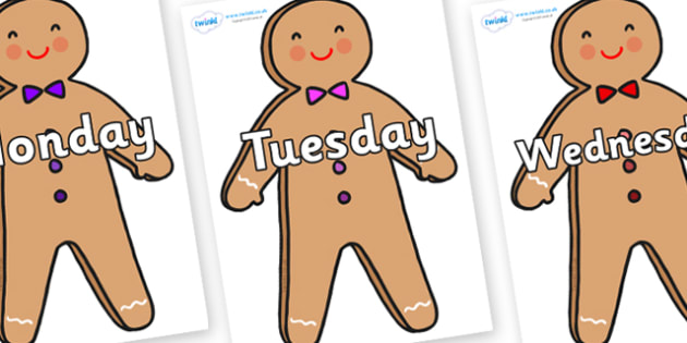 Days of the Week on Gingerbread Man - Days of the Week, Weeks poster, week, display, poster, frieze, Days, Day, Monday, Tuesday, Wednesday, Thursday, Friday, Saturday, Sunday