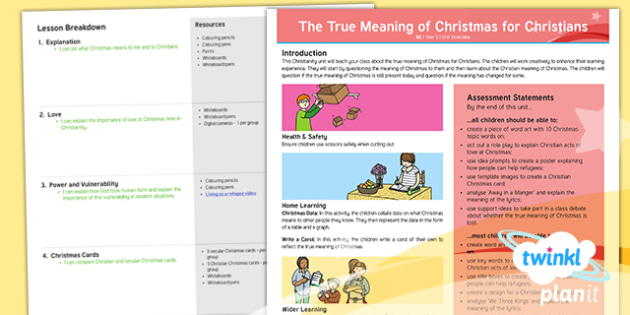 RE: The True Meaning of Christmas for Christians Year 5 Planning Overview