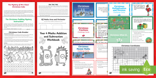 year 4 christmas maths activity pack year 4 christmas maths year 4 maths