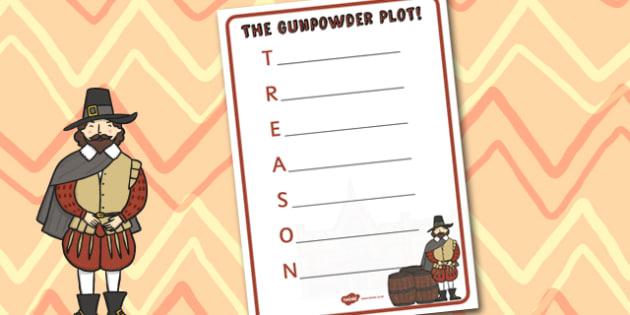 The Gunpowder Plot Acrostic Poem Template - Bonfire, Plot, Poem