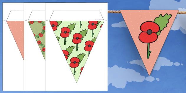 Poppy Themed Bunting - poppy, themed, bunting, display, remembrance day