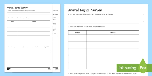 animal rights survey activity animals animal rights animal experiments. Black Bedroom Furniture Sets. Home Design Ideas
