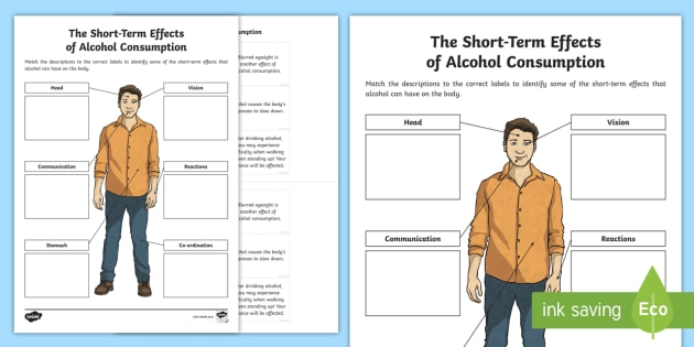 Cfe Second Level Short Term Effects Of Alcohol Activity Sheet