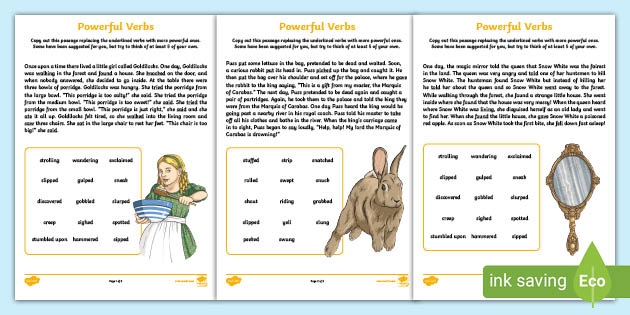 Powerful Verbs Worksheets - English Resource - Twinkl