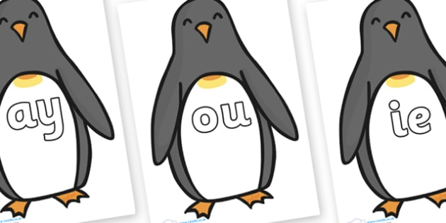 Phase 5 Phonemes on Penguins - Phonemes, phoneme, Phase 5, Phase five, Foundation, Literacy, Letters and Sounds, DfES, display