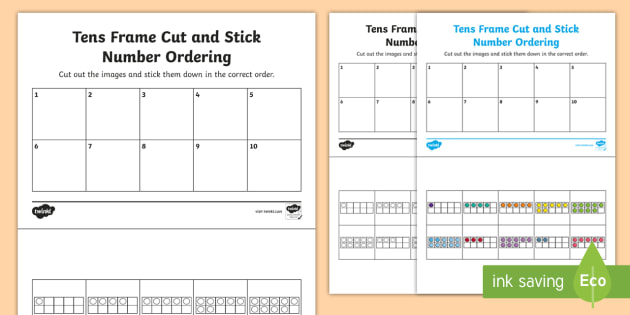 Tens Frame Cut and Stick Number Ordering 0-10 Activity Sheet
