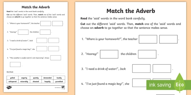 adverb matching worksheet literacy basic skills grammar sorting. Black Bedroom Furniture Sets. Home Design Ideas