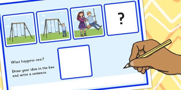 What Happens Next? Fill in the Blank Worksheet for 'On the Swings' - what happens, next, swings