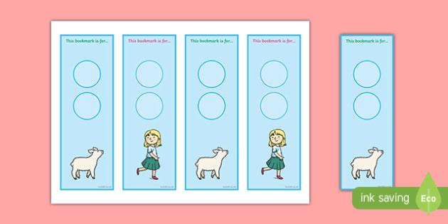 Mary Had a Little Lamb Editable Bookmarks - mary had a little lamb, nursery rhyme, editable, bookmarks
