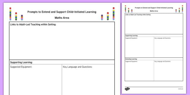 Maths Area Adult Support Prompt Sheet Template - EYFS Continuous Provision Plans, enhancements