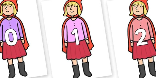 Numbers 0-50 on Red Riding Hood to Support Teaching on The Jolly Christmas Postman - 0-50, foundation stage numeracy, Number recognition, Number flashcards, counting, number frieze, Display numbers, number posters