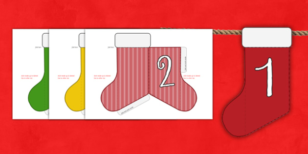 Christmas Advent Calendar Mini Stocking Bunting Numbers - advent