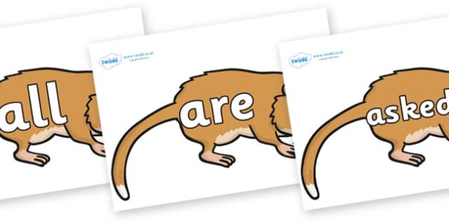 Tricky Words on Hamsters - Tricky words, DfES Letters and Sounds, Letters and sounds, display, words