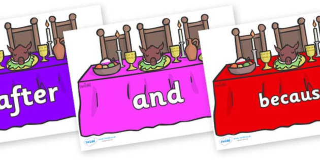 Connectives on Dining Tables (Multicolour) - Connectives, VCOP, connective resources, connectives display words, connective displays
