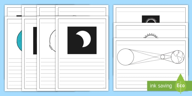 Solar Eclipse Writing Frames Pack - space, planets, sun, moon, great american eclipse,