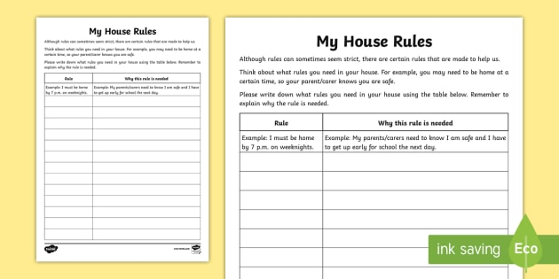 What House Rules Do You Need? Worksheet / Worksheet - relationships