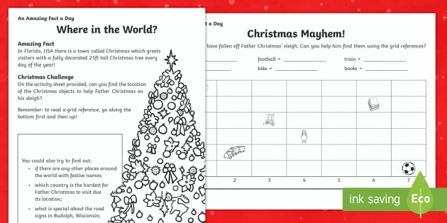 Where in the World? Worksheet / Activity Sheet -  Amazing Fact Of The Day, worksheet / activity sheets, PowerPoint, starter, morning activity, December, Christma