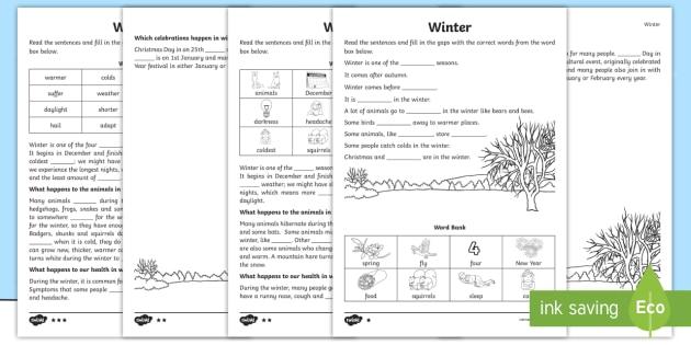 KS1 Winter Cloze Procedure Differentiated Worksheet