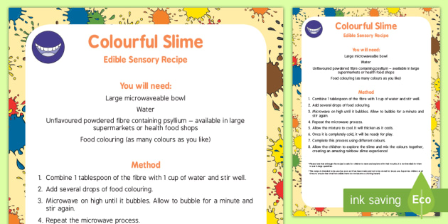 Cornflour slime awe and wonder science worksheet activity colourful slime edible sensory recipe ccuart Gallery