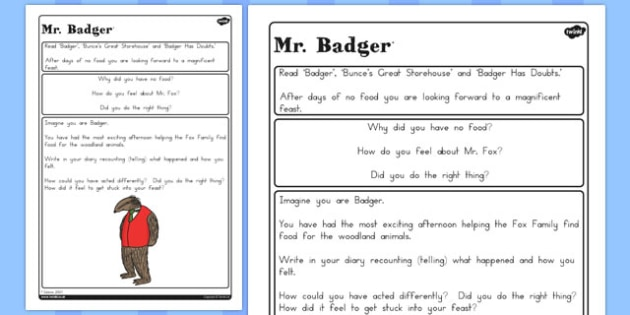 Badger Diary Writing Challenge Activity to Support Teaching on Fantastic Mr Fox - australia