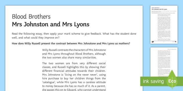blood brothers diary entry mrs johnstone