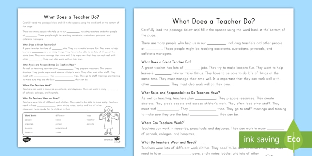 NEW * Second Grade What Does a Teacher Do? Cloze Reading Worksheet