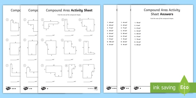 Compound Area Differentiated Worksheet / Activity Sheets