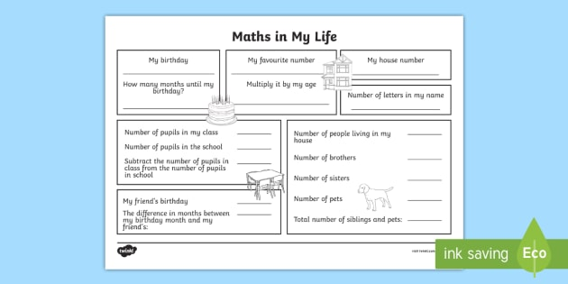 Year 3 Maths In My Life Worksheet / Worksheet (teacher Made)