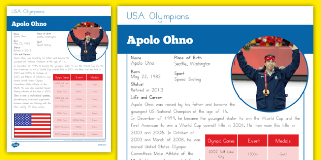 USA Olympians Apolo Ohno Fact File