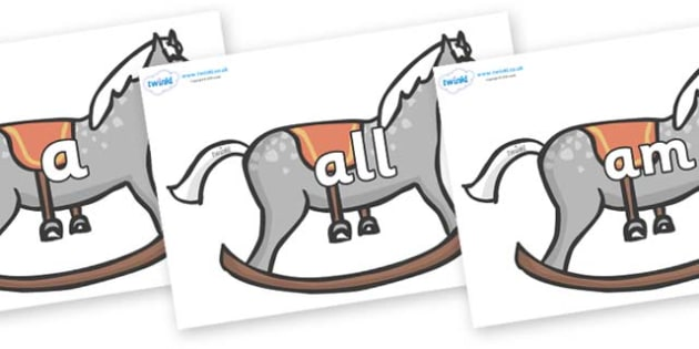 Foundation Stage 2 Keywords on Rocking Horses - FS2, CLL, keywords, Communication language and literacy,  Display, Key words, high frequency words, foundation stage literacy, DfES Letters and Sounds, Letters and Sounds, spelling